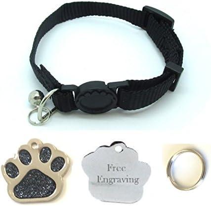 Collar para gato, con cascabel, fácil de abrir, con placa identificativa en forma de huella con purpurina (personalizable): Amazon.es: Productos para mascotas