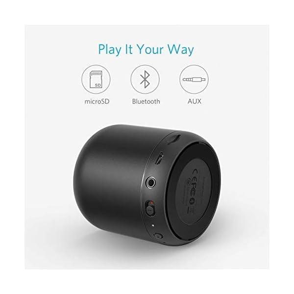 Anker SoundCore mini Enceinte Bluetooth Portable - Haut Parleur avec Autonomie de 15 Heures, Portée Bluetooth de 20 Mètres, Port Micro SD, Micro et Basses Renforcées 4