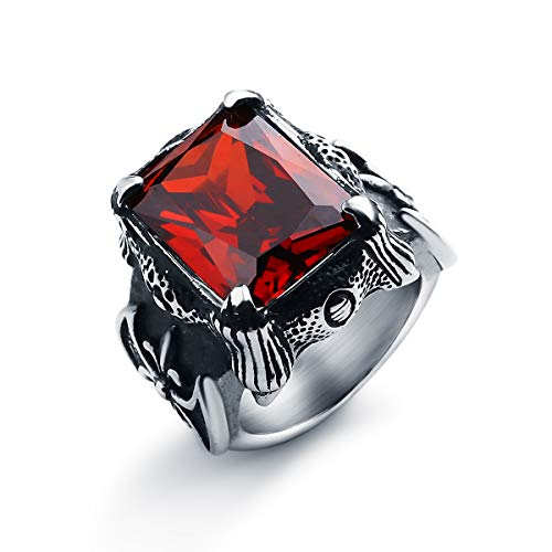 Sirius Men's Large Stainless Steel Glass Ring Silver Black Red Dragon Claw Knight Fleur De Lis Vintage Gothic Size 10