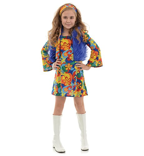 Underwraps Big Girl's Girl's Far Out Costume - Small Childrens Costume, Multi, (60s Decade Costume)