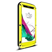 LG G4 case,Feitenn Water resistant Shockproof Dust/Dirt/Snow Proof Aluminum Metal Bumper Gorilla Glass Aaron Military Heavy duty Protection Case for LG G4 (Yellow)