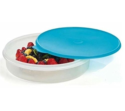 Tupperware 12'' Round Pie and Baked Goods Carrier Food Storage Container with Airtight Seal in Cool Aqua Blue
