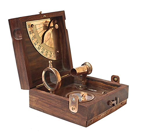 Collectibles Buy Antique Marine Master Instrument Box-telescope Compass Sprit Level Alidade Scale Chart Collectibles Vintage Instrument Box