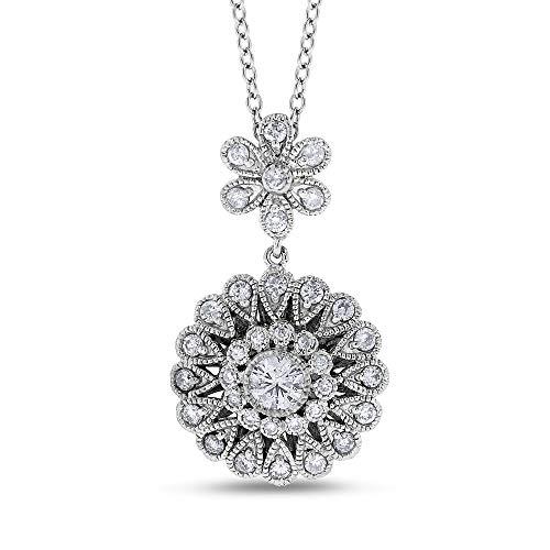 0.72 Ct. Natural Diamond Flower Floral Filigree Design Pendant in Solid 14k White Gold ()