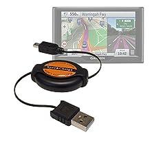 DURAGADGET Mini USB to USB 2.0 Retractable Data Transfer, Sync & Charge Cable for NEW Garmin Nuvi 57 LM, 57 LMT, 58 LMT, 67 LMT, 68 LMT & Garmin Camper 660LMT-D