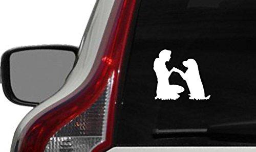 Lady Pandora Costumes (Dog Retriever Woman Silhouette Car Vinyl Sticker Decal Bumper Sticker for Auto Cars Trucks Windshield Custom Walls Windows Ipad Macbook Laptop Home and More (WHITE))