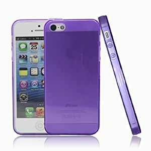 Ultra Slim Smooth Finish TPU Soft Snap on Case Cover for iPhone 5 5S (Purple)