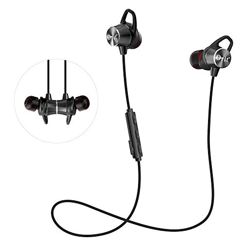 Sport Bluetooth Headphones, Wireless Earbuds with Mic IPX4 Sweatproof Super Bass and Noise Cancelling Magnetic Earphones with Removable Ear Hook for Workout Running Gym (8H Playtime)