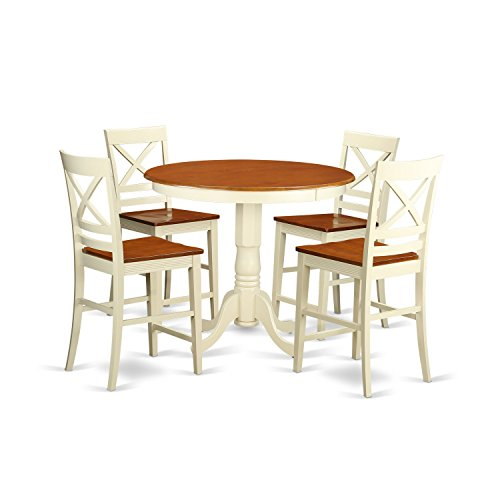 Cherry Veneer Pub Swivel Stool - East West Furniture JAQU5-WHI-W 5 Piece Pub Table and 4 Counter Height Chairs Set