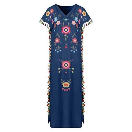 Women's Summer Floral Dresses Sleeveless V- Neck Casual Long Maxi Dress ♛HebeTop♛ Navy