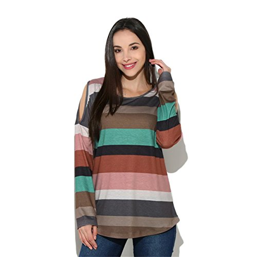 ABASSKY Women Ladies Rainbow Striped Long Sleeve Tops Strapless Blouse T Shirt (Gel Coat Labs Bow)