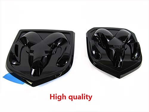 Qukparts 2pcs OEM Front Grille EMBLEM and Rear Tailgate BADGE 3D Replacement for Ram 1500 2500 3500 Glossy Black fit 2013-2018