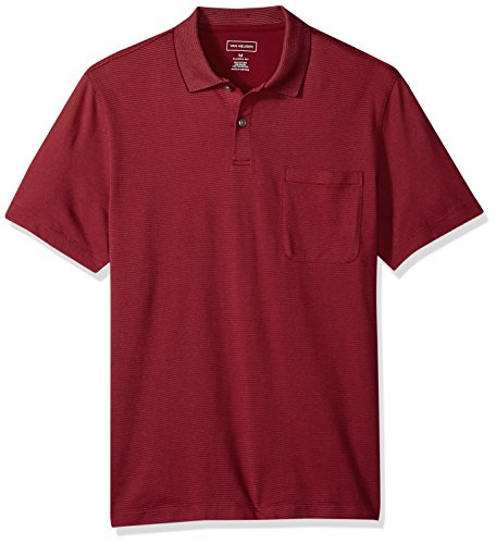 (Van Heusen Men's Short Sleeve Jacquard Stripe Polo Shirt, Rhubarb, Medium)