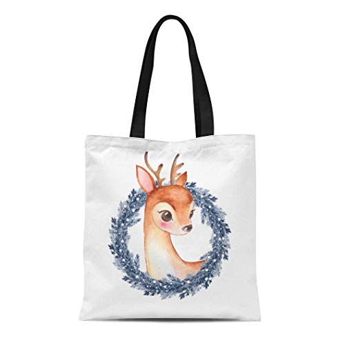 Semtomn Cotton Canvas Tote Bag Bambi Baby Deer Cute Fawn and Christmas Wreath Watercolor Reusable Shoulder Grocery Shopping Bags Handbag Printed