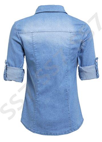 SS7 Nouvelles Femmes Chemise En Jeans, Taille 8 - 14, Jeans Bleu Clair, Indigo - Délavé Moyen, 44