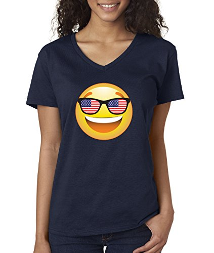 - New Way 474 - Women's V-Neck T-Shirt Emoji Smiley Face USA American Flag Sunglasses 4th July Large Navy