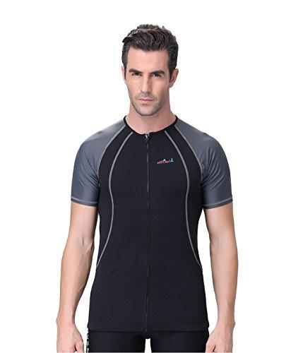 Lemorecn Imprägnierung Rash Guard für Damen und Herren Tauchen Short Sleeve Shirt (Grau, XL)