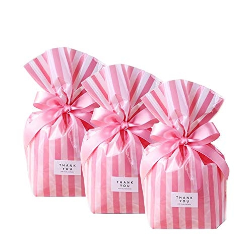 NIQU Cello Candy cellophane Treat Favor Bags,Pink Stripe,Pack of 100