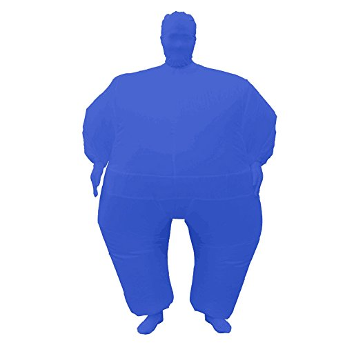 Inflatable Full Body Jumpsuit Cosplay Costume Halloween Funny Fancy Dress Blow Up Party Toy (Blue) -