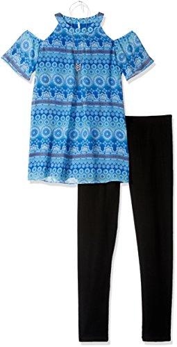 Mock Neck Cold Shoulder Tunic with Necklace and Legging, Color Cobalt, L ()