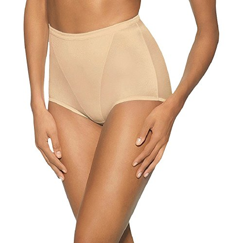 Hanes Women's Moderate Control with Tummy Panel Brief, 3X-Light Beige