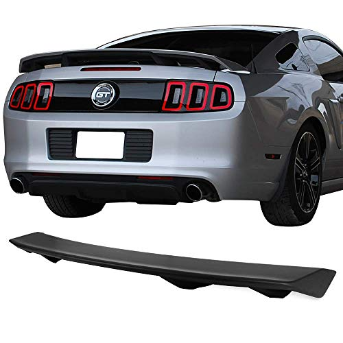 Trunk Spoiler Fits 2010-2014 Ford Mustang | LS Style Unpainted Black ABS GT 4-Pedestal Rear Wing Tail Roof Top Deck Lid by IKON MOTORSPORTS | 2011 2012 2013