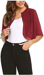 Women's Elegant Sheer Open Front Chiffon Shrug Cardigan Short Sleeve Bolero Shawl