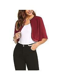Women's Elegant Sheer Open Front Chiffon Shrug Cardigan Short Sleeve Bolero Shawl Top