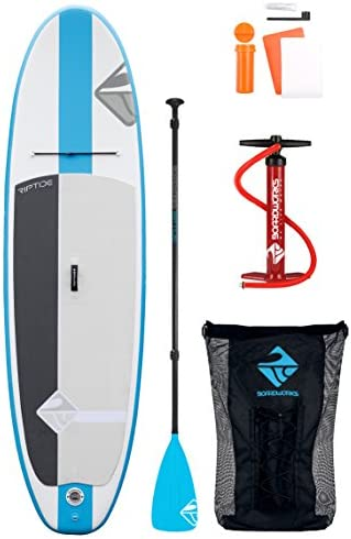 Boardworks SHUBU Riptide Recreational Inflatable Stand Up Paddleboard SUP Package Includes Pump, Three Piece Paddle and Roller Bag Complete Kit 10 6