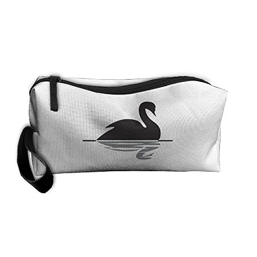 Black Swan Swimming Cosmetic Bags Brush Pouch Makeup Bag Zipper Wallet Hangbag Pen Organizer Carry Case Wristlet Holder