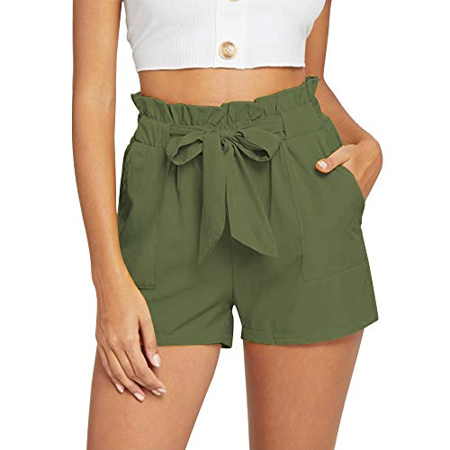 NEWFANGLE Women's Casual Paper Bag Shorts Elastic Tie Waist with Pocket Comfy Summer Shorts for Women,Green,XXL