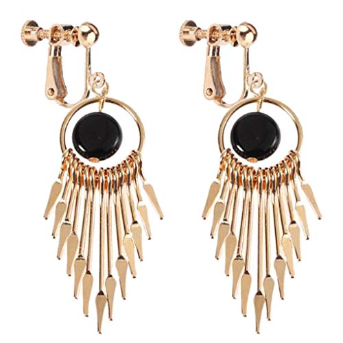 Women's Multi Layer Tassel Clip on Earrings Leaf Tiered Long Drop Multiple Chain Dangle Black Stone