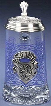 Beer Scottish (Scotland German Glass Beer Stein Scottish Mug Pewter Knotwork Thistles Decal)