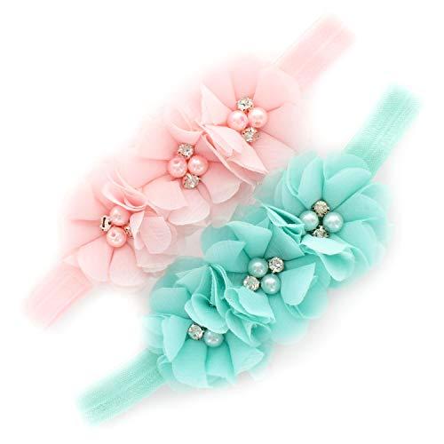 Flower Headband Light - My Lello Baby Flower Headbands Fabric Beaded Trio Stretchy Elastic Pair (Light Pink/Aqua)