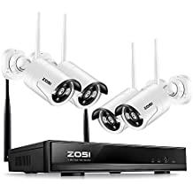 ZOSI 4CH 1080P HD WiFi NVR with (4) 1.0MP 720P HD Wireless Outdoor Indoor Home Security Camera System Support Smartphone Remote View NO Hard Drive, 100' Night Vision