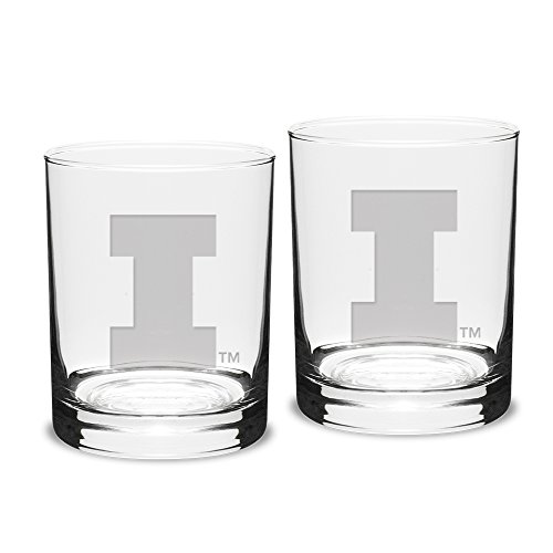 NCAA Illinois Illini Adult Set of 2 - 14 oz Double Old Fashion Glasses Deep Etch Engraved, One Size, Clear