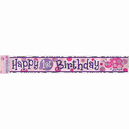 12ft Foil Ladybug 1st Birthday Banner