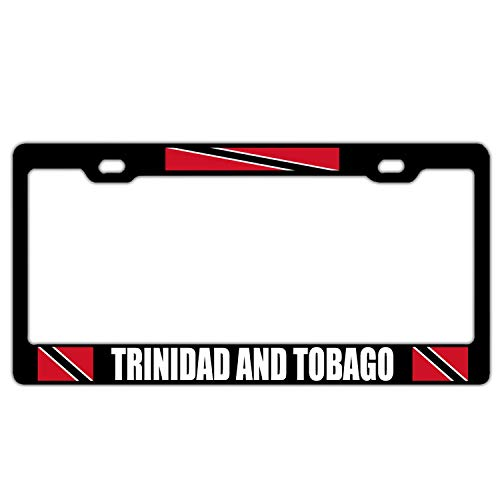 (Trinidad and Tobago Flag Black License Plate Frame Aluminum License Plate Cover Elegant Car Plate Frame Car Tag Frame 2 Hole and Screws)