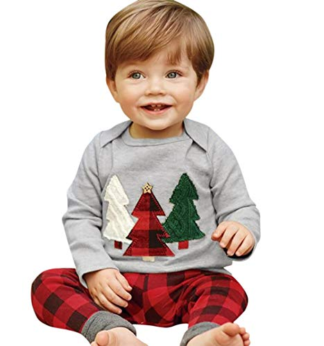 Kids Baby Boys Girls Christmas Tree T-Shirt Pullover+Plaid Print Pants Outfits Size 6-9Months/Tag80 -