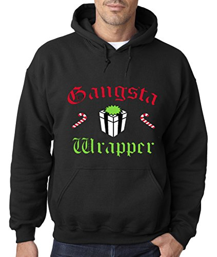 New Way 588 - Hoodie GANGSTA WRAPPER - CANDY CANES & GIFT WRAPPED CHRISTMAS Unisex Pullover Sweatshirt XL Black