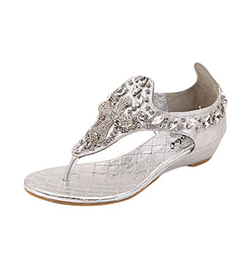 NiSeng Mujer Bohemia Piedras De Strass Con Cuentas Sandalias Moda T-Strap Peep Toe Sandalias Verano Clip Toe Sandalias Plateado