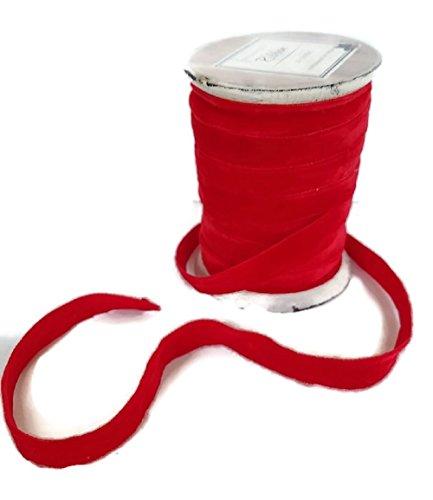 Vintage Wood Spool of Velvet Ribbon Fabric Trim 1/2 inch x 10 Yards (1, Red) ()