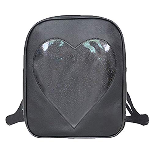 Abuyall Girls Candy Backpacks Transparent Love Heart Shape School Bags Ita Bag C