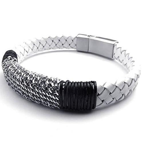 Hit Girl Costume Uk (Epinki Stainless Steel Bracelet, Mens Weave Round Bracelet Silver Black White Length 9 Inch)