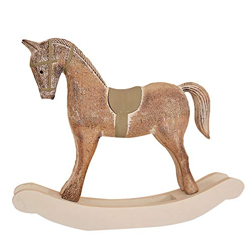 Leoy88 Large Traditional Christmas Wooden Rocking Horse Ornament Decoration (C) (Traditional Wooden Rocking Horses)