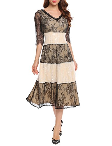 ANGVNS V Flare Fit Sleeve Neck Women's Midi Dress 3 and Lace Party Apricot 4 Patchwork rqrfC