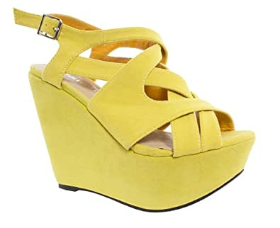 79e246df7b7 Core Womens Ladies Yellow High Heel Cross Strap Platform Wedge Sandals Size  4