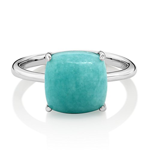 Jewelry Amazonite (Gorgeous 925 Sterling Silver Cabochon Square Green Amazonite Ring (Size 5))