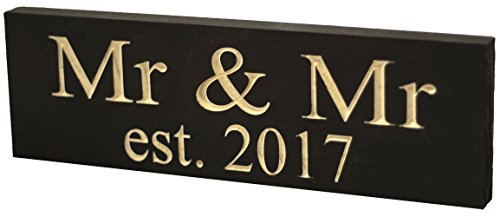 Mr & Mr Est. 2017 Gay Wedding Sign - Made from Solid Reclaimed Wood & Individually Carved - Made in the USA - Lightweight, Handmade, Wedding Decor - Newlywed Gifts - Home Decoration - 11.5