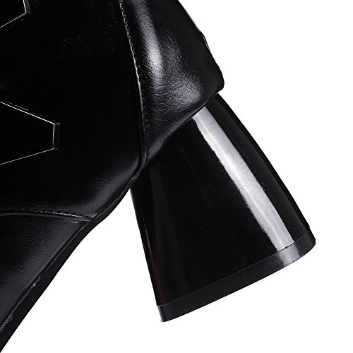 WeenFashion Soft Pointed top Material Black Heels Zipper Closed Low Kitten Women's Toe Boots rrCqw5a